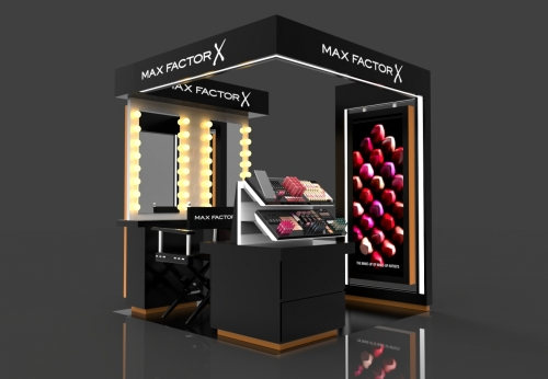 最新设计化妆展柜化妆品中岛柜