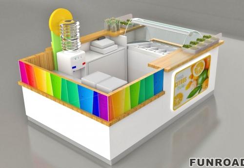 商业零售展柜商场食品亭设计  快速售货亭  饮料亭待售