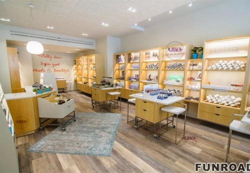 木质、亚克力、烤漆、不锈钢化妆品各类展示柜效果图