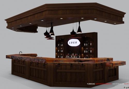 酒柜定做红酒洋酒柜台设计效果图