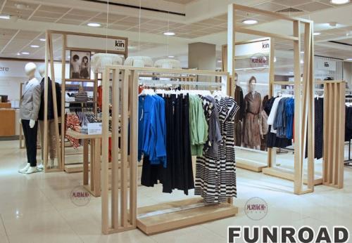 木质烤漆服装店展示柜案例效果图