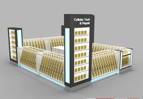 大型商场手机店展示柜设计效果图