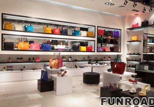 高档名牌包包女鞋展示柜案例效果图