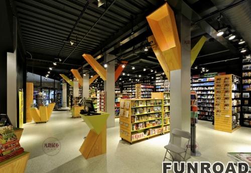 木质烤漆书店展示柜案例效果图