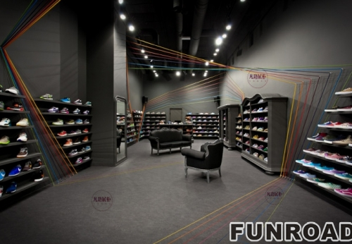 暗色系鞋店陈列柜展示架案例