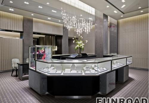 电镀不锈钢珠宝展示柜案例