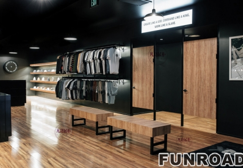 服装店木质烤漆展示柜案例