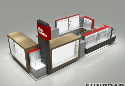FR-CKD-0103 Funroad定制木质玻璃手机亭,带手机维修台