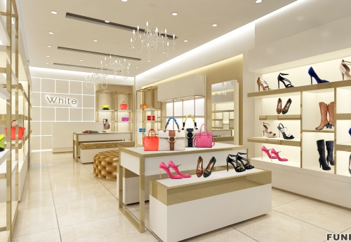 现代商店零售鞋店箱包鞋柜内部设备设计