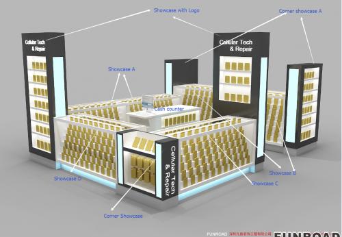 购物中心手机配件亭设计手机店