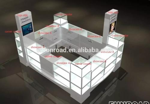 FR-JS-02现代定制商场展台带LED照明的珠宝展示柜