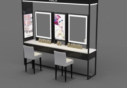 现代化妆品店木制陈列架及化妆台设计待售