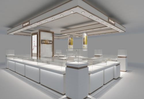 Funroad装饰定制设计高档珠宝展示柜商场零售珠宝展示亭