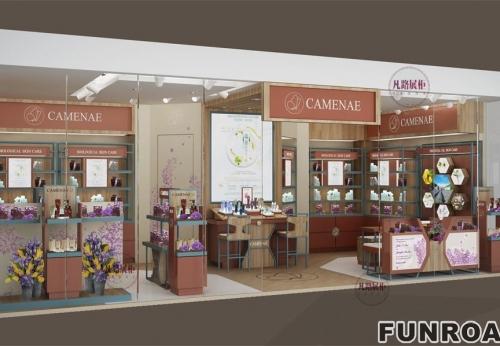 同风格三套不同店面的化妆品展柜案例