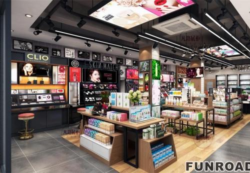 木质烤漆化妆品美妆店展柜设计及制作案例