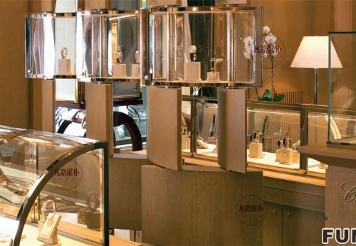 高档弧形不锈钢珠宝展示柜制作