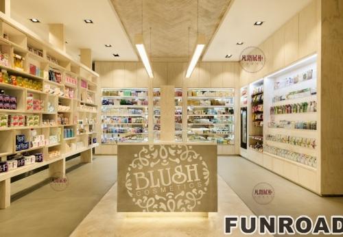 高端化妆品体验店展示柜制作案例