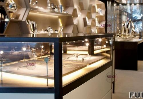 菱形异形珠宝店柜台制作案例
