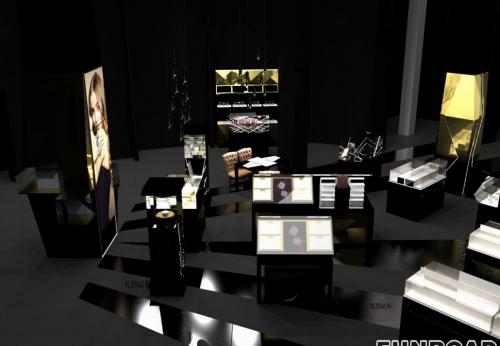 化妆品展示柜设计渲染效果图