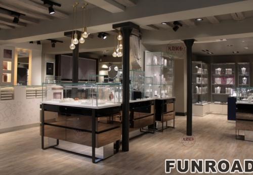 电镀镜面不锈钢珠宝店展示柜案例
