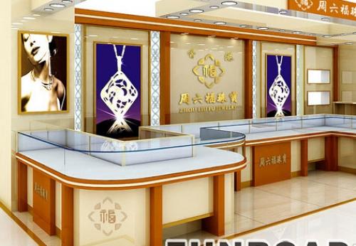周六福珠宝首饰展柜设计效果图