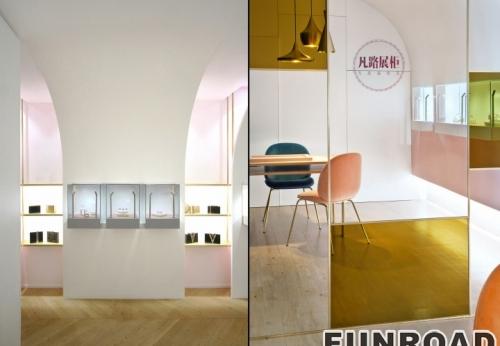 室内不锈钢精品珠宝展柜设计效果图