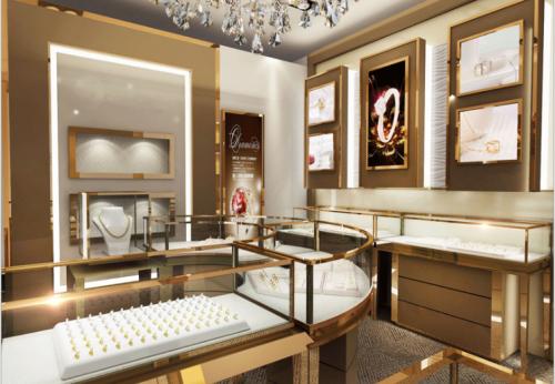 防火展柜设计,A级防火材料珠宝展示柜效果图