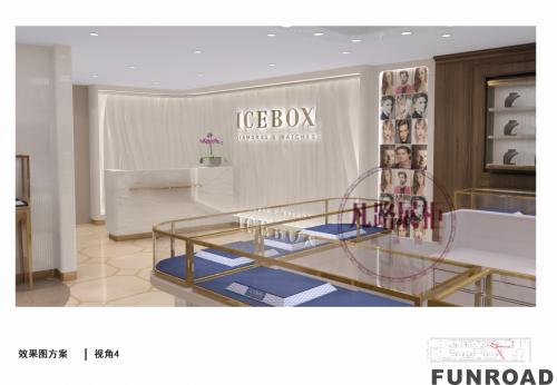 180㎡美国珠宝店不锈钢玻璃展柜效果图