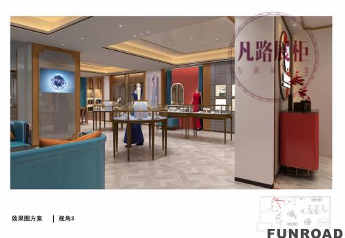 临淄120㎡珠宝会所展柜设计制作